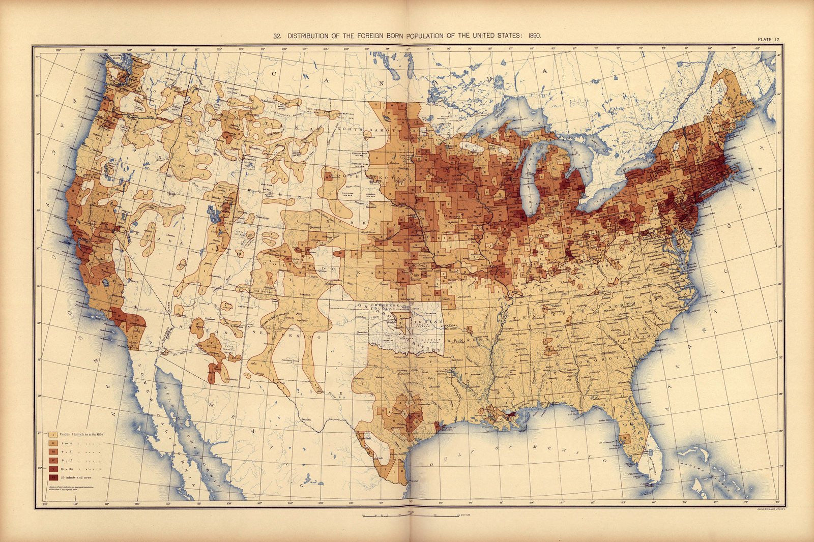 Prints Of Maps Tagged Race And Ethnicity On Vintage Visualizations - Us population density map 1870s