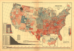 Popular Vote Map: 1880 (James Garfield v. Winfield Hancock)