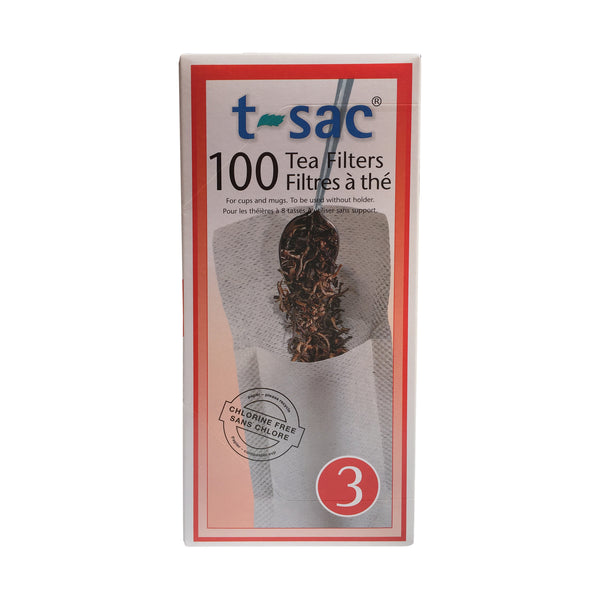 Tea Filter Bags by T-Sac Size 3 - Box of 100