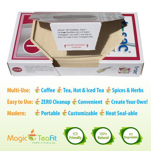 Modern Tea Filter Bags, Disposable Tea Infuser, Size 1, Set of 100 Filters - Heat Sealable, Natural, Easy to Use Anywhere, No Cleanup – Perfect for Teas, Coffee & Herbs