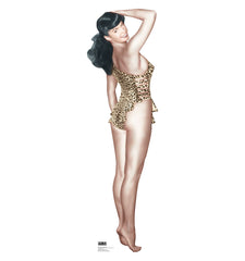 Bettie Page Leopard Swim Suit Cardboard Standup