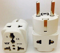 Two Outlet Grounded Universal Schuko Plug for Germany, France, Europe, Russia & more