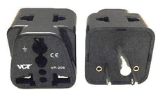 VCT VP-206B Universal 2-Outlet Plug Adapter for USA and Canada CE Certified RoHS Compliant Grounded Plug