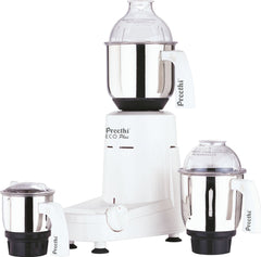 Preethi Eco Plus Powerful 550 Watt Wet and Dry Mixer Grinder with 3 stainless Steel Jars, 110V