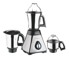 Preethi Steele Powerful 550 Watt Mixer Grinder with Turbo Vent and Strong Couplers, Black & Steel