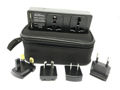 Simran SM-90KIT 4 Outlet Universal Travel Power Strip 2 USB 2 AC Outlets Plus UK/USA/AU/EU Plugs 100-250V