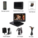"Saachi 10.1"" Multi All Region Code Free Portable DVD Player with Swivel Screen, 4.5 Hours Rechargeable Battery, SD/MMC Card Reader and USB Port, Headphone Jack, Car Charger, Remote, FREE Carrying Case"