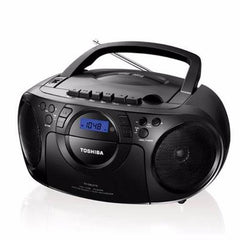 Toshiba TY-CKU310 Portable Boombox CD USB MP3 AM/FM Radio Cassette Recorder With Remote 110-220 Volt, TY-CKU310