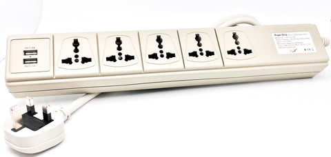 USP500-UK 5-Multi-outlet 110V to 250V Universal Power Strip with 2 ...
