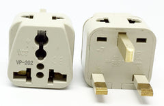 VCT VP-202 - USA to UK  Two-outlet Universal Plug Adapter for UK, Hong Kong, Africa and more