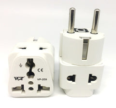 VP-209W Two Outlet Grounded Universal Schuko Plug for Germany, France, Europe, Russia & more CE Cert