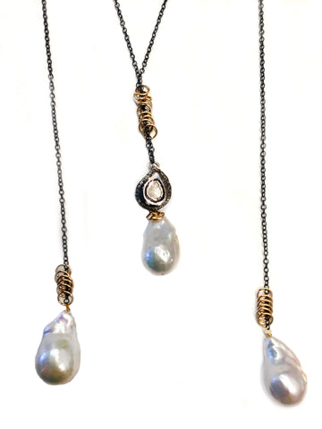 Baroque Freshwater Pearl Necklace with Diamond Pendant