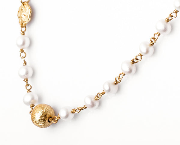 Fresh Water Pearl & Gold Necklace