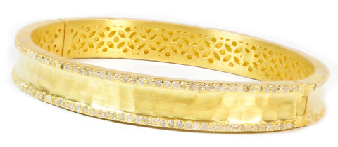 Champagne Diamond and Gold Bangle