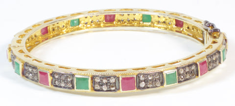 Emerald, Ruby and Diamond Bangle