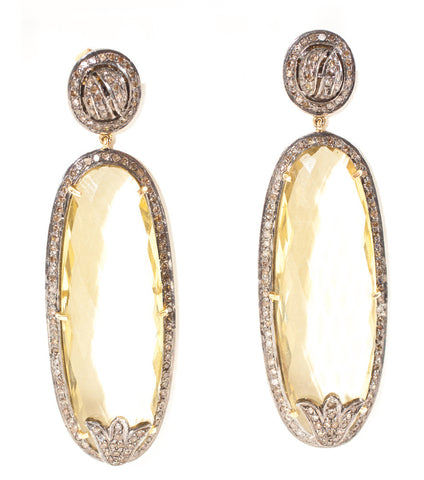 Lemon Topaz & Diamond Earrings