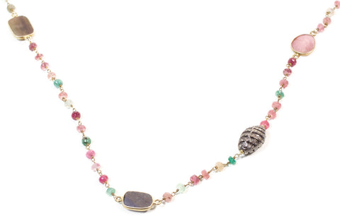 Multicolored sapphire and diamond egg necklace