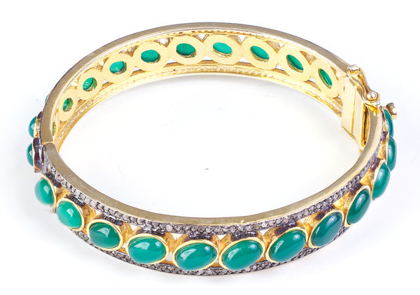 Green onyx and diamond bangle bracelet