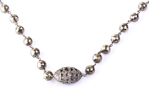 Pyrite and diamond oxidized silver necklace