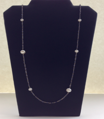 Fresh Water Pearl & Sapphire Necklace