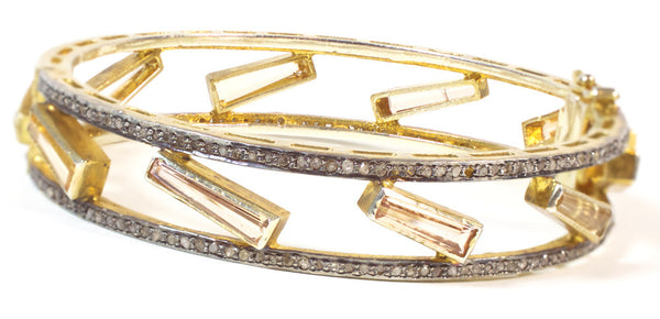 Tourmaline and Diamond bangle bracelet