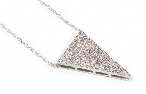 Solid Triangle Necklace - White Gold
