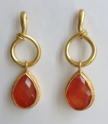 Carnelian Hoop Drop Earrings