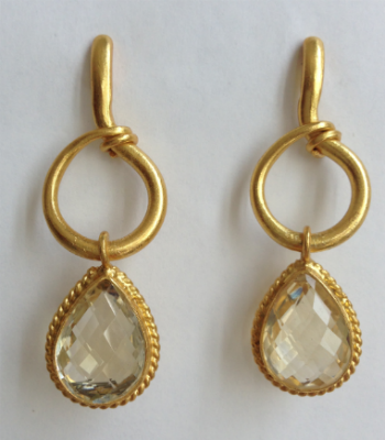 Citrine Hoop Drop Earrings