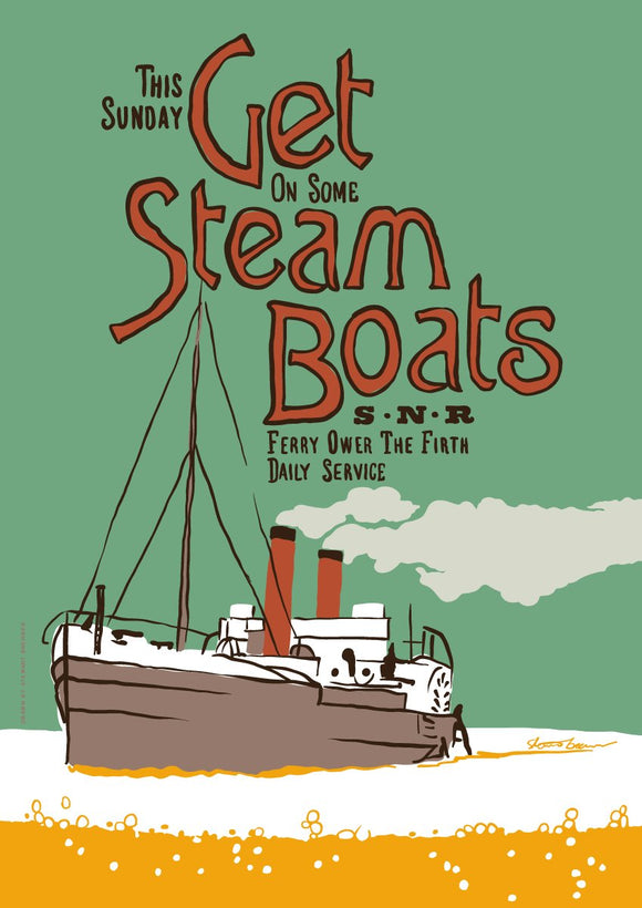 Get steam boats – poster - Indy Prints by Stewart Bremner