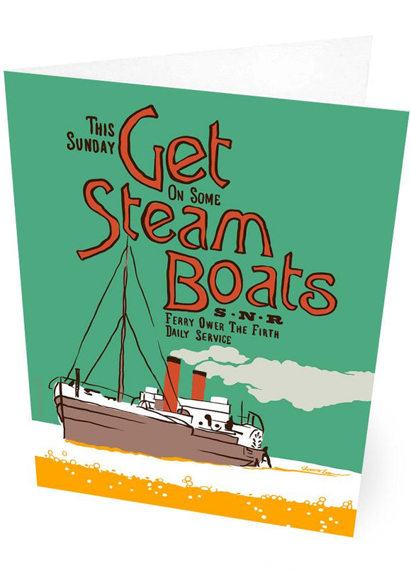 Get steam boats – card - Indy Prints by Stewart Bremner