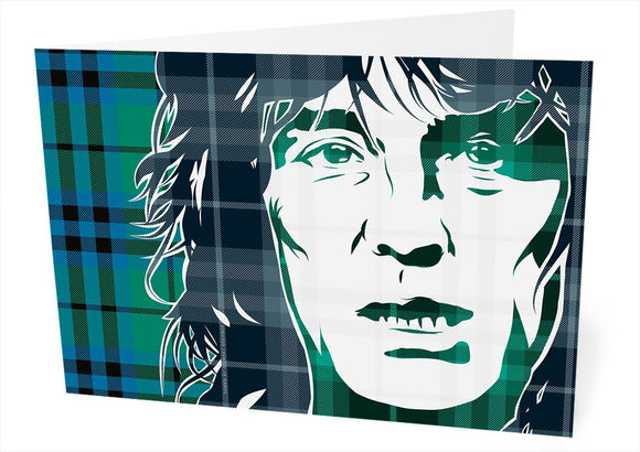 Alex Harvey on Keith ancient tartan – card - Indy Prints by Stewart Bremner