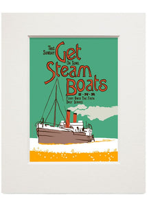 Get steam boats – small mounted print - Indy Prints by Stewart Bremner