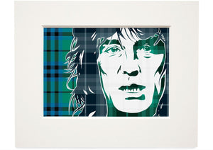 Alex Harvey on Keith ancient tartan – small mounted print - Indy Prints by Stewart Bremner