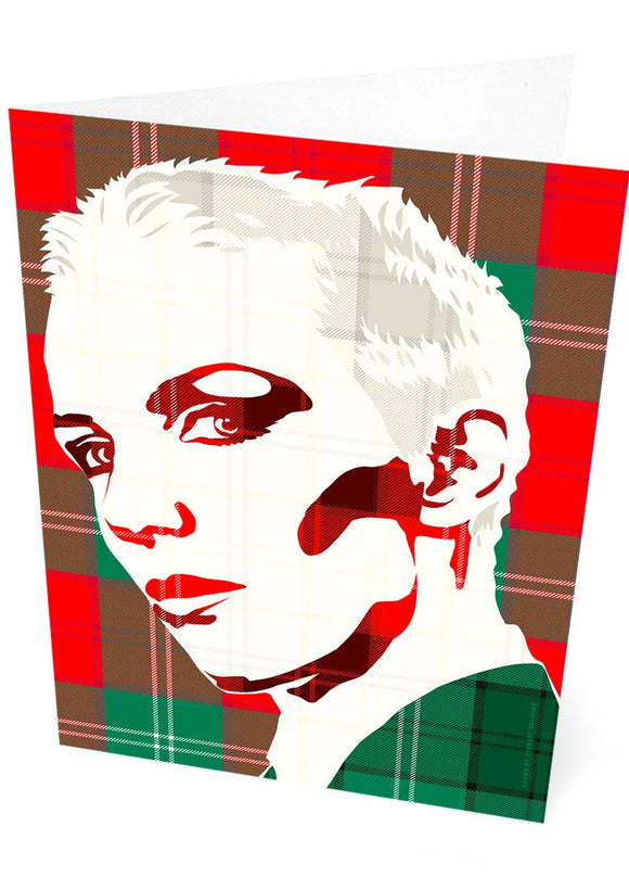 Annie Lennox on Lennox ancient tartan – card - Indy Prints by Stewart Bremner