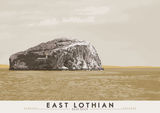 East Lothian: Bass Rock – poster - grey - Indy Prints by Stewart Bremner