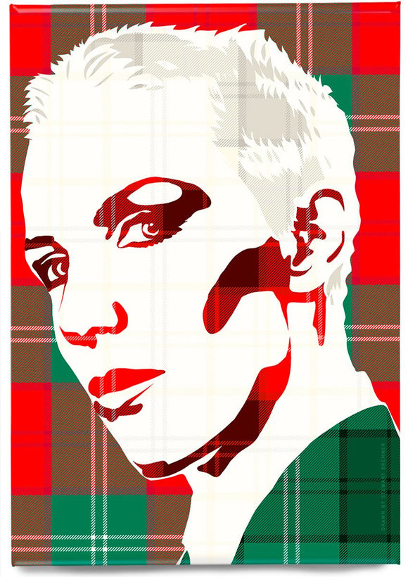 Annie Lennox on Lennox ancient tartan – magnet - Indy Prints by Stewart Bremner