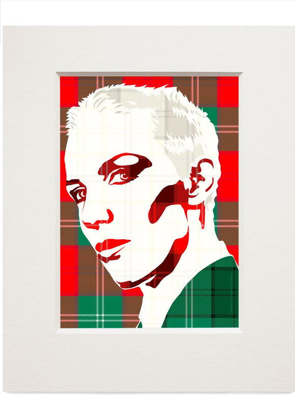 Annie Lennox on Lennox ancient tartan – small mounted print - Indy Prints by Stewart Bremner