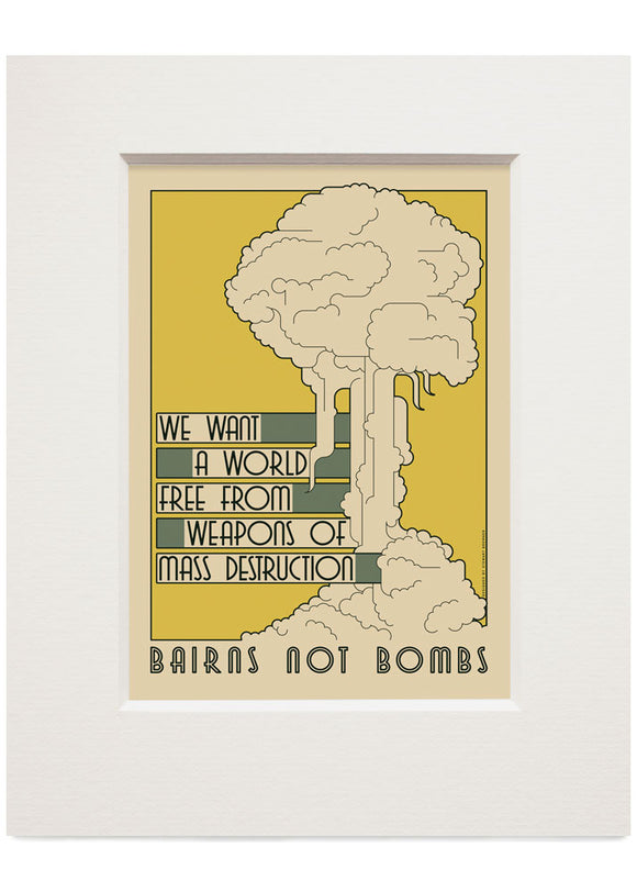 Bairns not bombs – small mounted print - Indy Prints by Stewart Bremner
