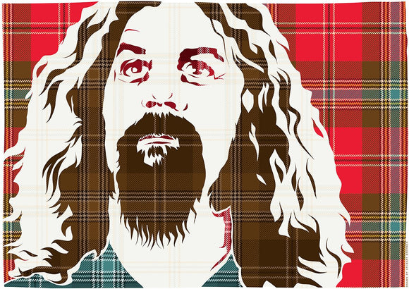 Billy Connolly on MacLean of Duart weathered tartan – poster - Indy Prints by Stewart Bremner