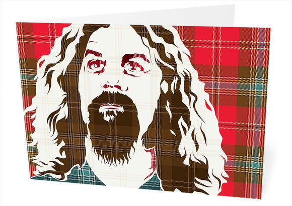 Billy Connolly on MacLean of Duart weathered tartan – card - Indy Prints by Stewart Bremner