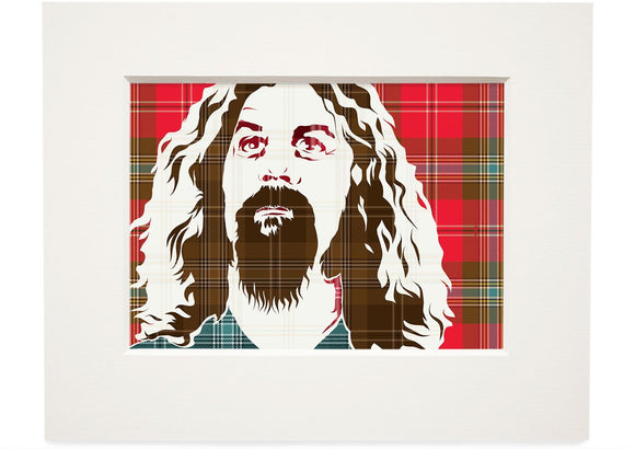 Billy Connolly on MacLean of Duart weathered tartan – small mounted print - Indy Prints by Stewart Bremner