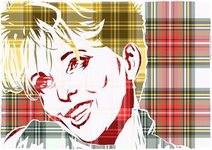 Clare Grogan on Stewart dress weathered tartan – poster - Indy Prints by Stewart Bremner