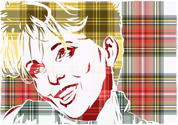 Clare Grogan on Stewart dress weathered tartan – giclée print - Indy Prints by Stewart Bremner