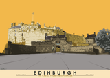 Edinburgh: the Castle from the Esplanade – giclée print - yellow - Indy Prints by Stewart Bremner