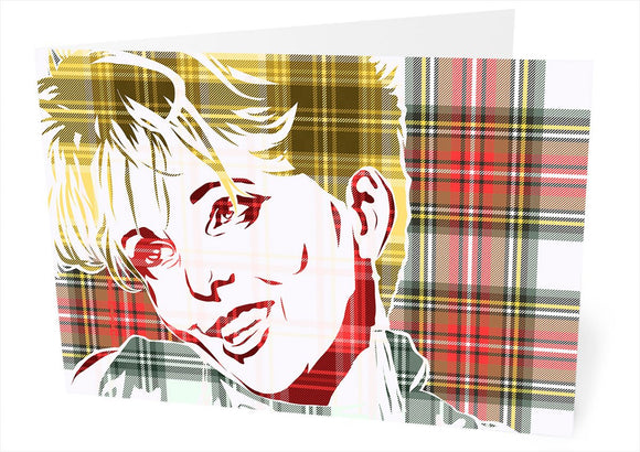 Clare Grogan on Stewart dress weathered tartan – card - Indy Prints by Stewart Bremner