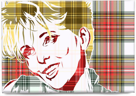Clare Grogan on Stewart dress weathered tartan – magnet - Indy Prints by Stewart Bremner