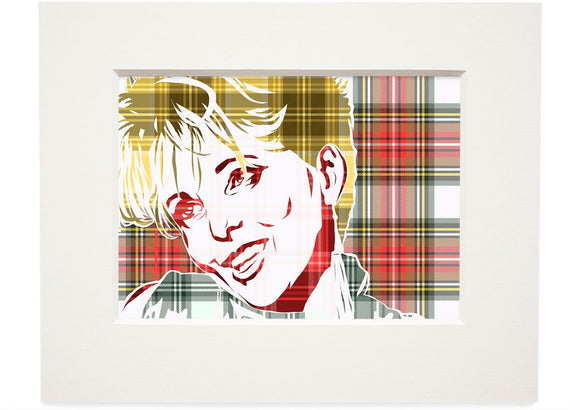 Clare Grogan on Stewart dress weathered tartan – small mounted print - Indy Prints by Stewart Bremner