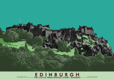 Edinburgh: the Castle from Princes Street Gardens – poster - green - Indy Prints by Stewart Bremner