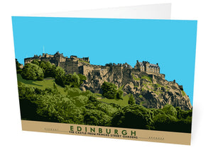 Edinburgh: the Castle from Princes Street Gardens – card - Indy Prints by Stewart Bremner