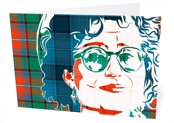 Eddi Reader on Rattray ancient tartan – card - Indy Prints by Stewart Bremner